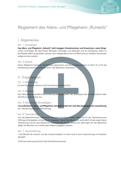 Reglement Altersheim Beringen